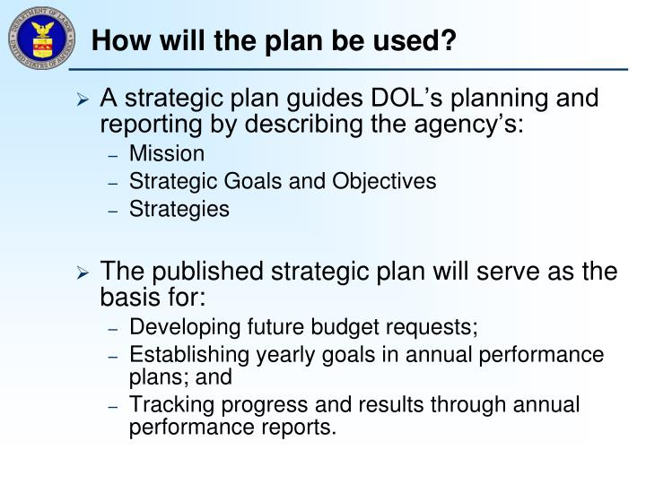 How will the plan be used?