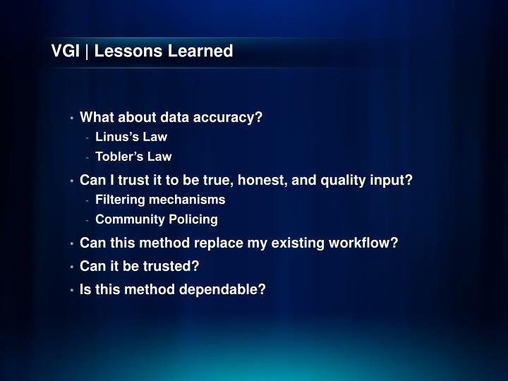 VGI | Lessons Learned