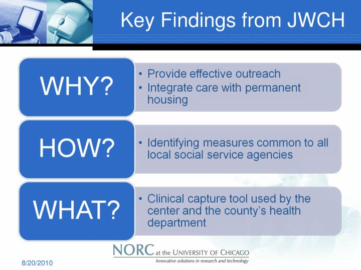 Key Findings from JWCH