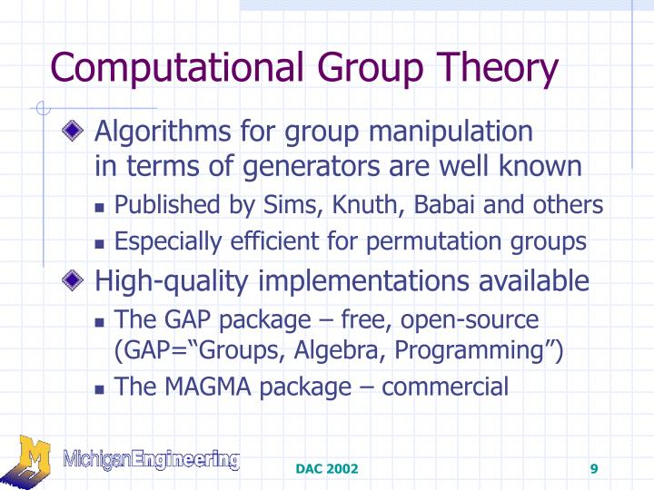Computational Group Theory