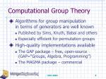computational group theory