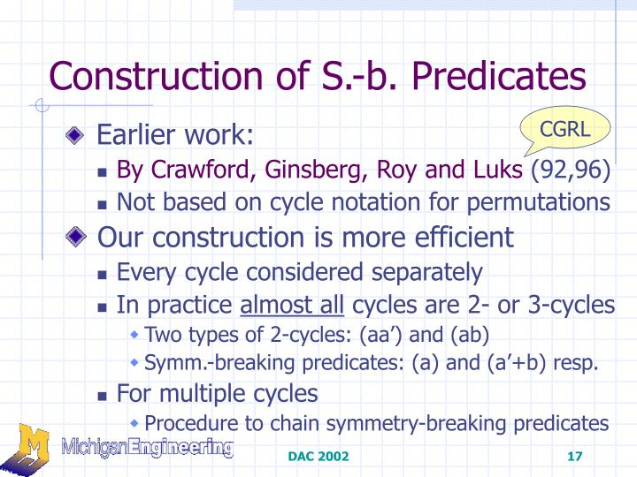 Construction of S.-b. Predicates