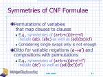 symmetries of cnf formulae