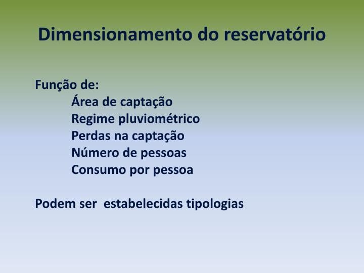 Dimensionamento do reservatório