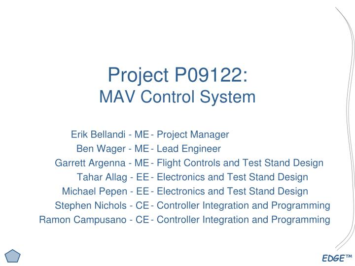 Project p09122 mav control system
