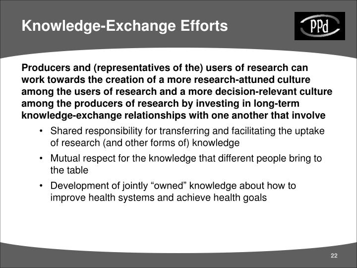 Knowledge-Exchange Efforts