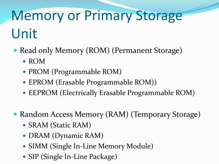 Memory or Primary Storage Unit