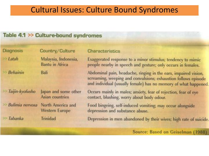 Cultural Issues: Culture Bound Syndromes