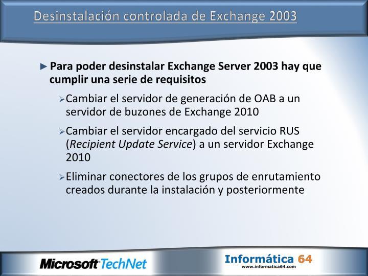 Desinstalación controlada de Exchange 2003