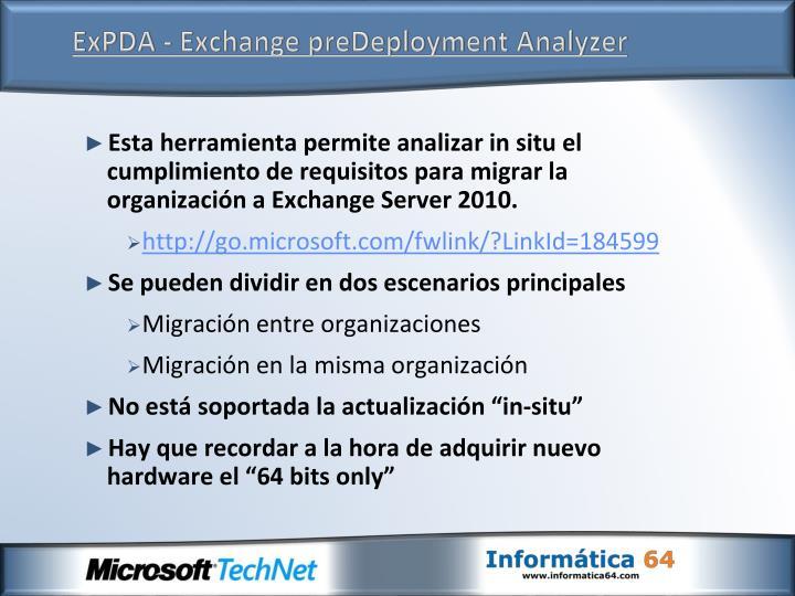 ExPDA - Exchange preDeployment Analyzer