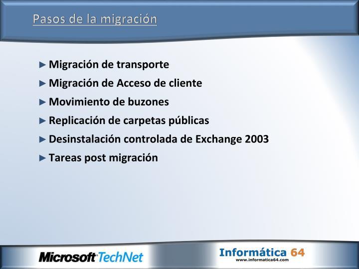 Pasos de la migración