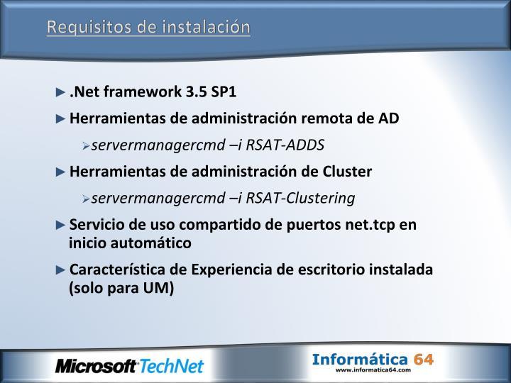 Requisitos de instalación
