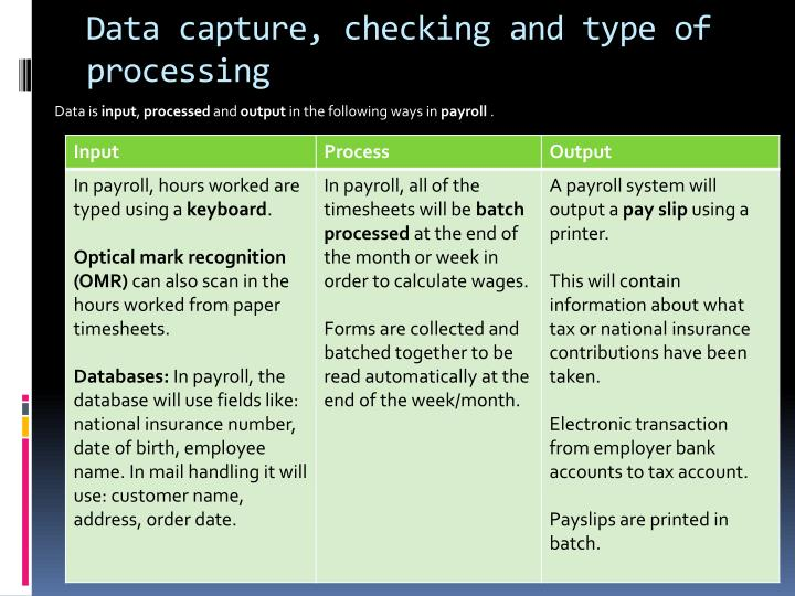 Data capture, checking and type of processing