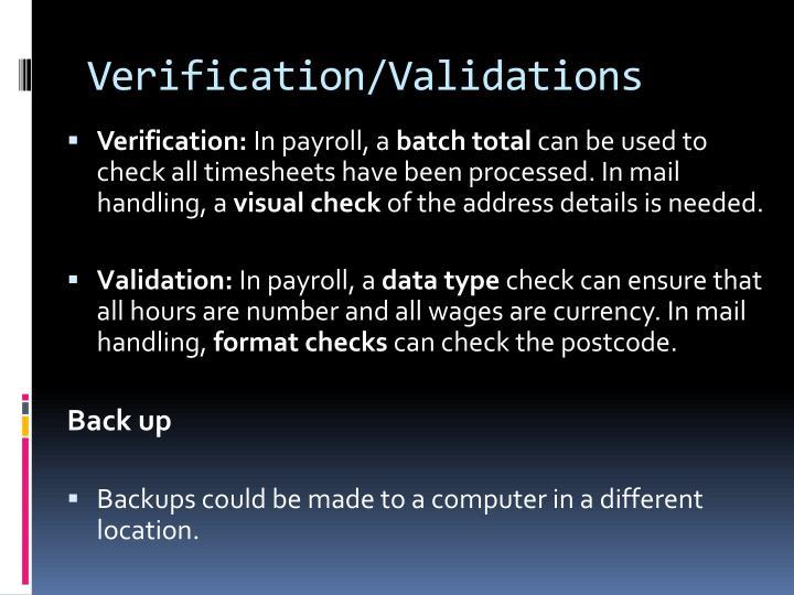 Verification/Validations