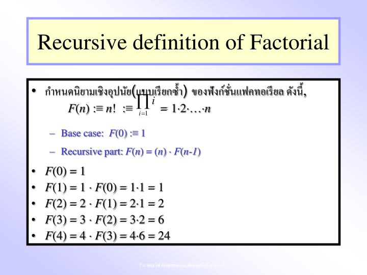 Recursive definition of Factorial