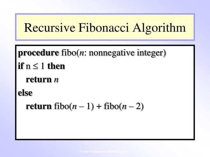 Recursive Fibonacci Algorithm