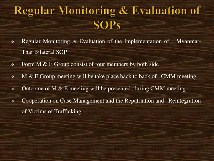 Regular Monitoring & Evaluation of SOPs