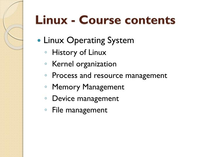 Linux - Course contents