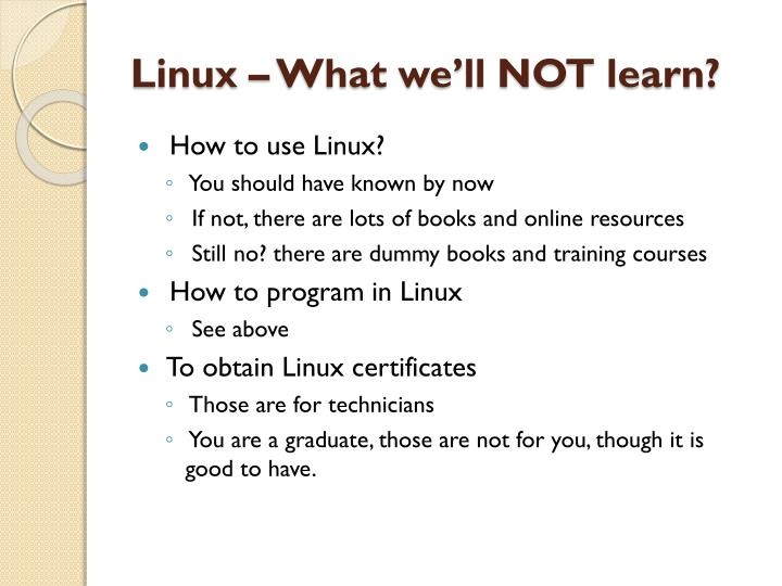 Linux – What we'll