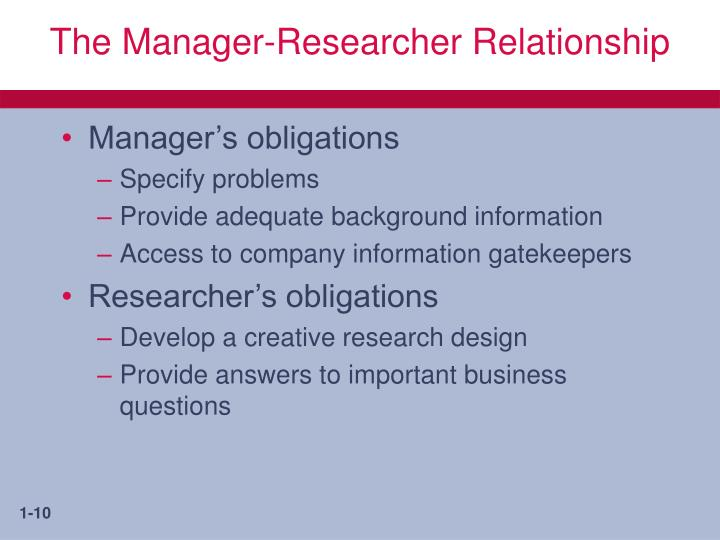 The Manager-Researcher Relationship