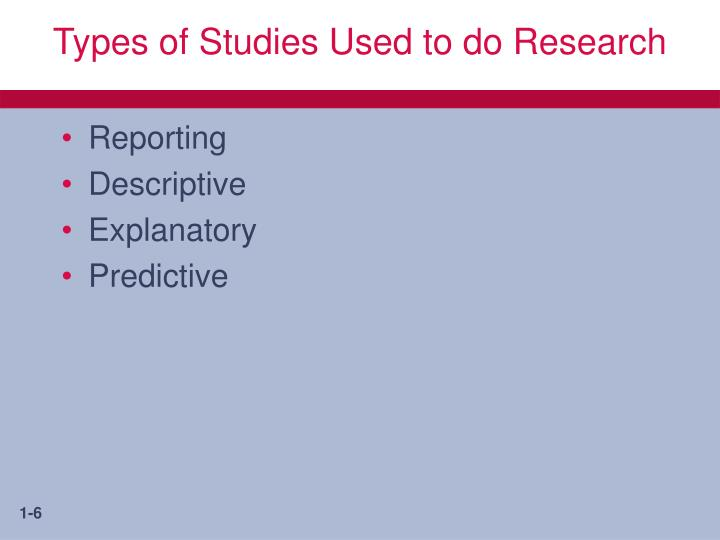 Types of Studies Used to do Research