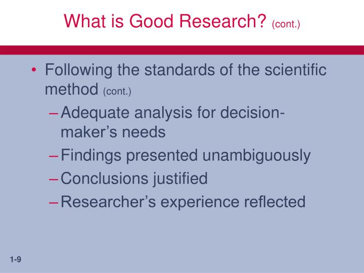 What is Good Research?