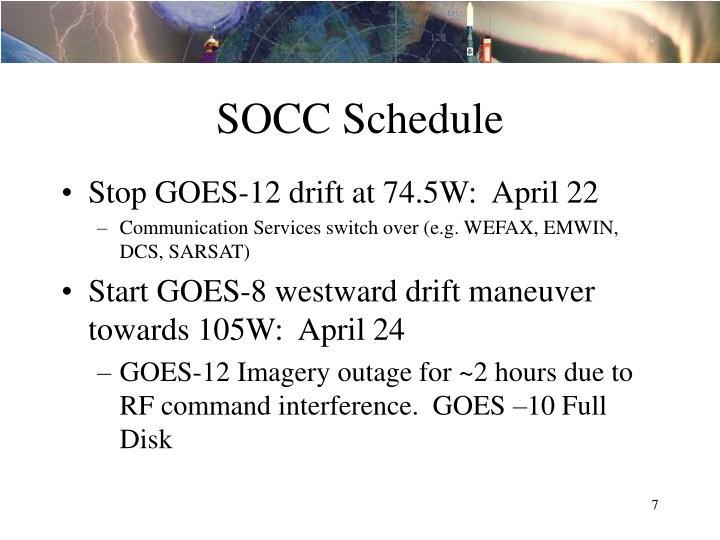 SOCC Schedule