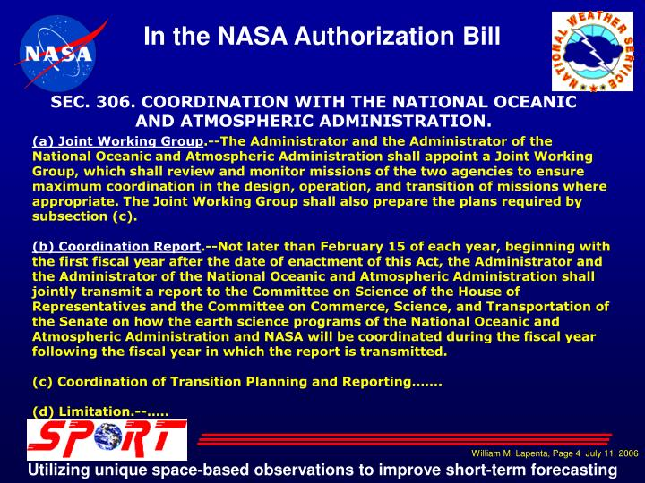 SEC. 306. COORDINATION WITH THE NATIONAL OCEANIC AND ATMOSPHERIC ADMINISTRATION.