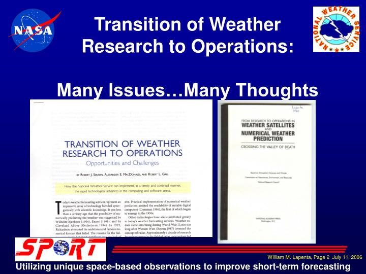 Transition of Weather