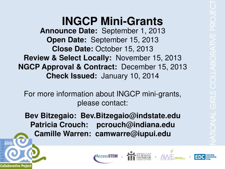 INGCP Mini-Grants