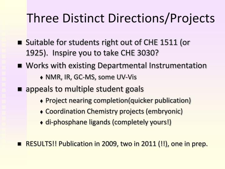 Three distinct directions projects