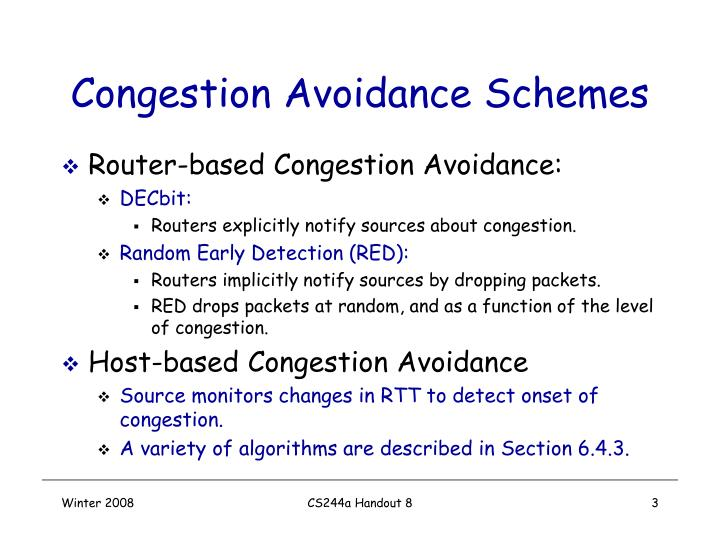Congestion avoidance schemes