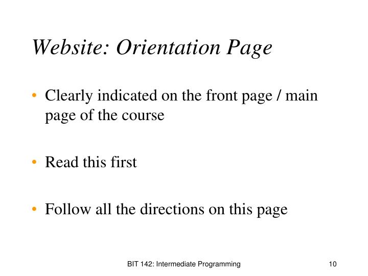 Website: Orientation Page