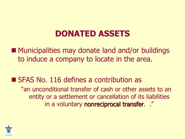 DONATED ASSETS