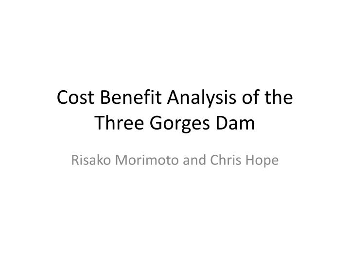 Cost benefit analysis of the three gorges dam