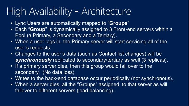 High Availability - Architecture