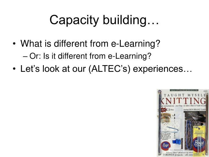 Capacity building…