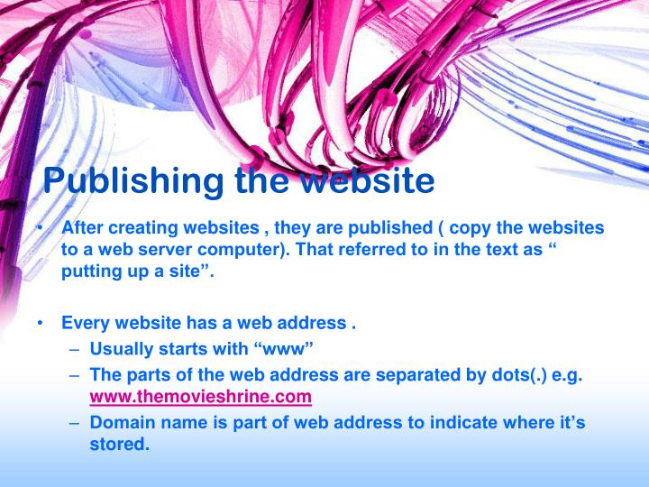 Publishing the website