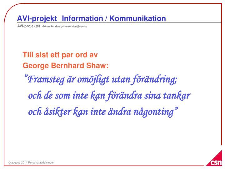 AVI-projekt Information / Kommunikation