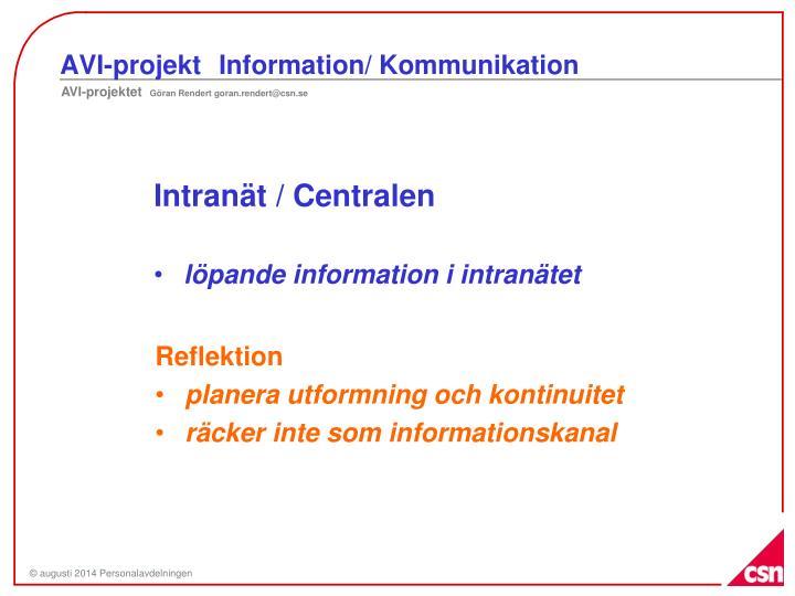 AVI-projektInformation/ Kommunikation