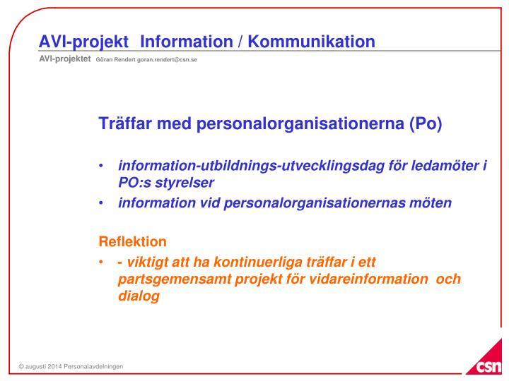 AVI-projektInformation / Kommunikation