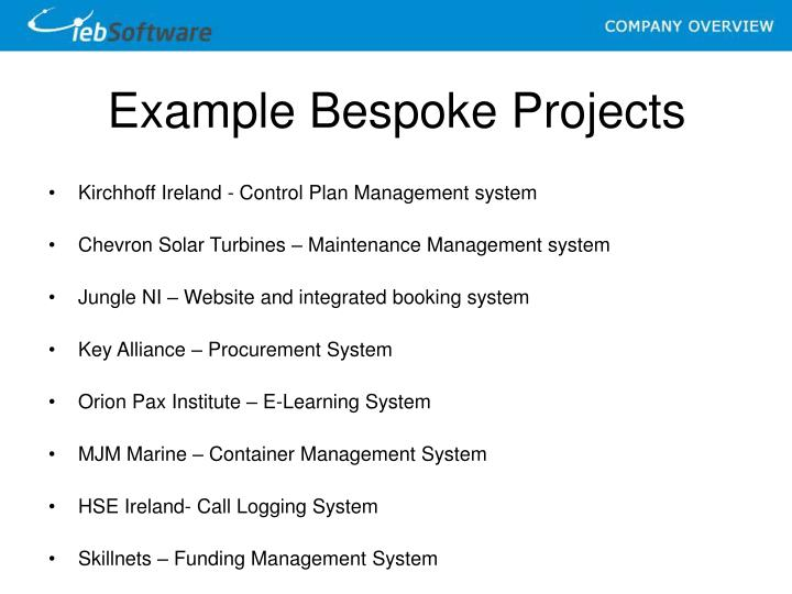 Example Bespoke Projects