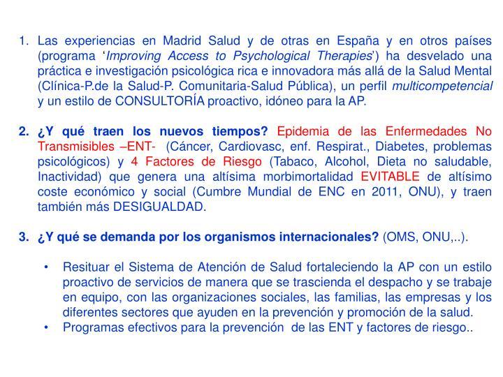 Las experiencias en Madrid Salud y de otras en España y en otros países (programa