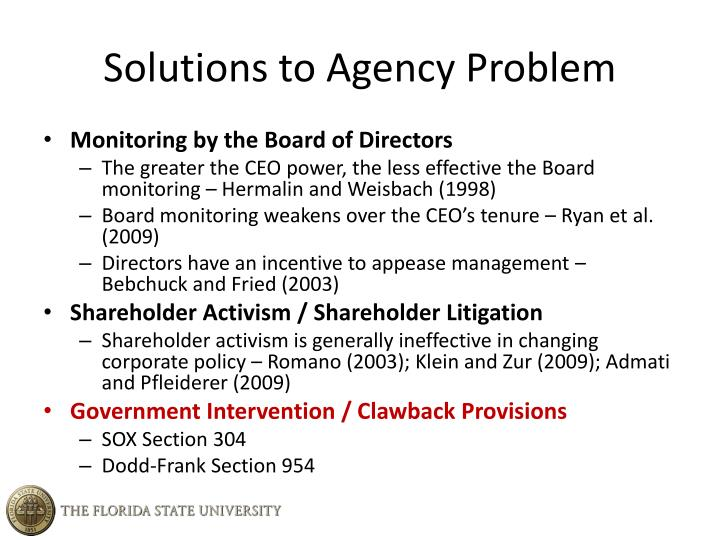 Solutions to Agency Problem