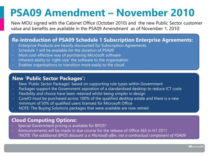 Psa09 amendment november 2010