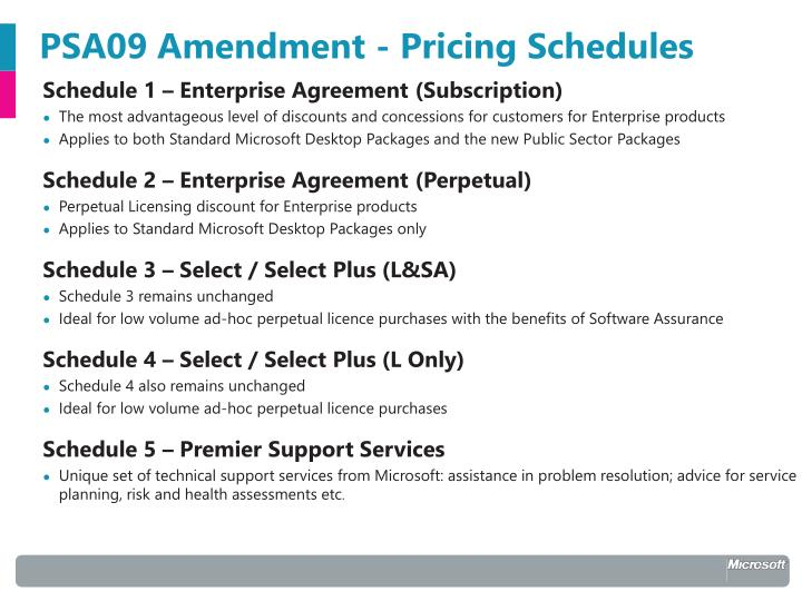 Psa09 amendment pricing schedules