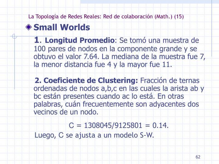 La Topología de Redes Reales: Red de colaboración (Math.) (15)