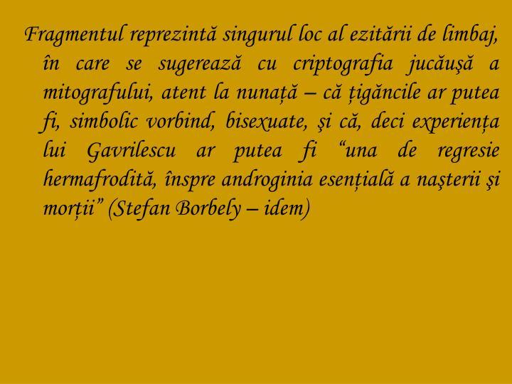 """Fragmentul reprezintă singurul loc al ezitării de limbaj, în care se sugerează cu criptografia jucăuşă a mitografului, atent la nunaţă – că ţigăncile ar putea fi, simbolic vorbind, bisexuate, şi că, deci experienţa lui Gavrilescu ar putea fi """"una de regresie hermafrodită, înspre androginia esenţială a naşterii şi morţii"""" (Stefan Borbely – idem)"""