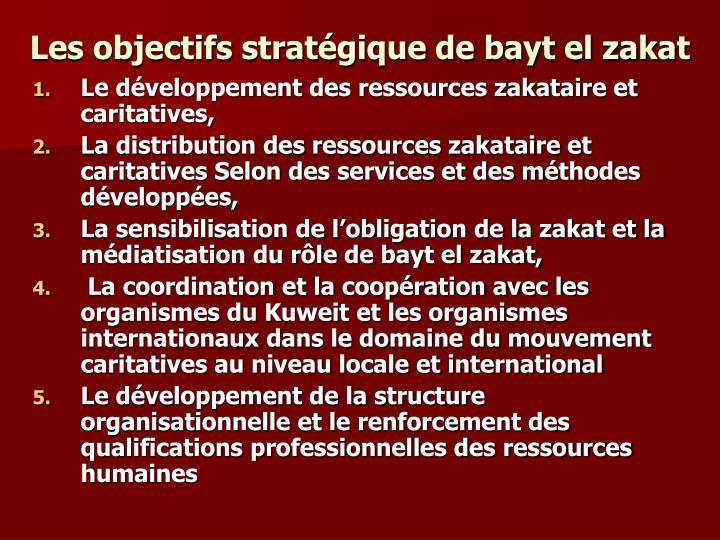 Les objectifs stratégique de bayt el zakat