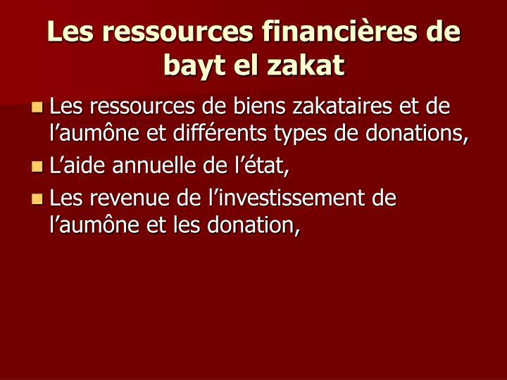 Les ressources financières de bayt el zakat